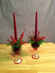 Holiday Stemmed Crackle Glass Candle Holders from Lewis Florist in Grayslake, IL