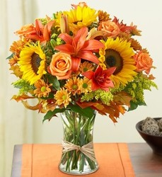 Luscious Full Fall vase from Lewis Florist in Grayslake, IL
