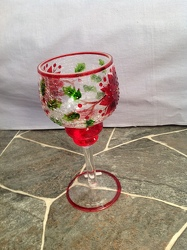Holiday stemmed crackle Glass Goblet from Lewis Florist in Grayslake, IL