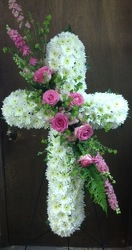 Feminine pink and white cross from Lewis Florist in Grayslake, IL
