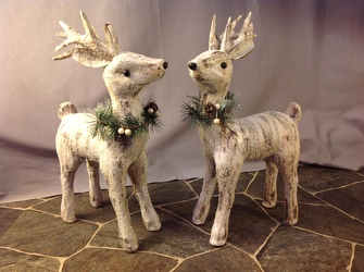 Bundle Faux Birch Deer White from Lewis Florist in Grayslake, IL