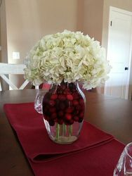Cranberries and Hydrangeas from Lewis Florist in Grayslake, IL
