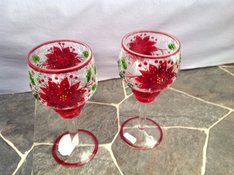 Bundle Holiday Crackle Glass Goblets from Lewis Florist in Grayslake, IL