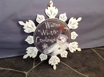 Warm Winter Greetings Metal Snowflake Plaque from Lewis Florist in Grayslake, IL