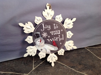 Joy To The World Metal Snowflake Plaque from Lewis Florist in Grayslake, IL
