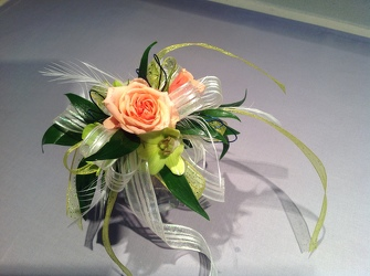 Striking Peach and Lime Green from Lewis Florist in Grayslake, IL