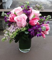 Spring in shades of pink and purple from Lewis Florist in Grayslake, IL