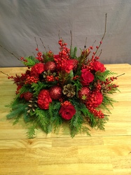 Classic Round Red Centerpiece from Lewis Florist in Grayslake, IL