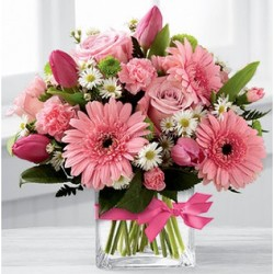 Classy Pinks and Greens from Lewis Florist in Grayslake, IL