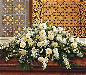 Pure White Casket Spray from Lewis Florist in Grayslake, IL