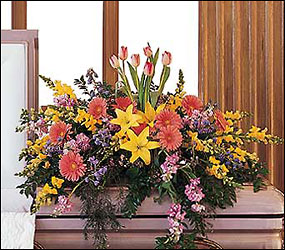 Blooming Glory Casket Spray from Lewis Florist in Grayslake, IL