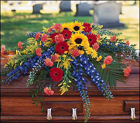 Vibrant Summer Casket Spray from Lewis Florist in Grayslake, IL