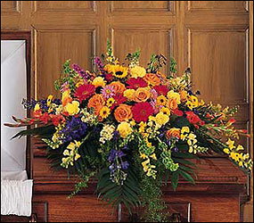 Celebration of Life Casket Spray from Lewis Florist in Grayslake, IL