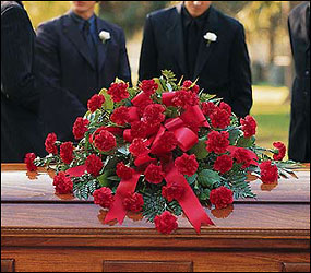 Red Regards Casket Spray from Lewis Florist in Grayslake, IL
