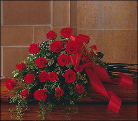 Red Rose Tribute Casket Spray from Lewis Florist in Grayslake, IL