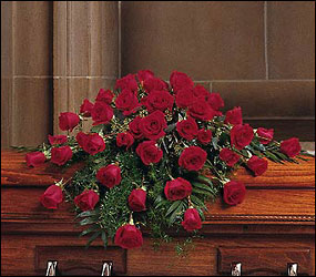 Blooming Red Roses Casket Spray from Lewis Florist in Grayslake, IL