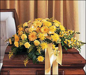 Brighter Blessings Casket Spray from Lewis Florist in Grayslake, IL