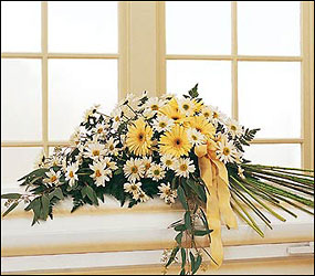 Drop of Sunshine Casket Spray from Lewis Florist in Grayslake, IL