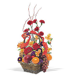 Fruits and Flowers Basket from Lewis Florist in Grayslake, IL