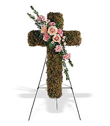 Pink Bouquet Cross from Lewis Florist in Grayslake, IL