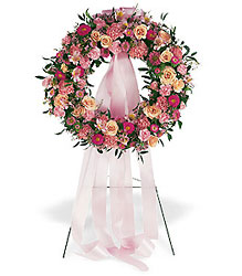Respectful Pink Wreath from Lewis Florist in Grayslake, IL