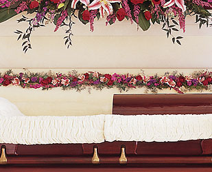 Hinge Spray Inside Casket from Lewis Florist in Grayslake, IL