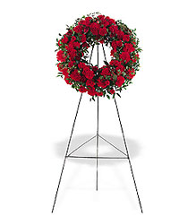 Red Regards Wreath from Lewis Florist in Grayslake, IL