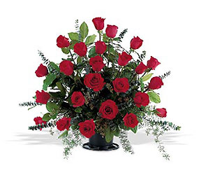 Blooming Red Roses Basket from Lewis Florist in Grayslake, IL