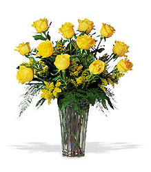 A Dozen Yellow Roses from Lewis Florist in Grayslake, IL
