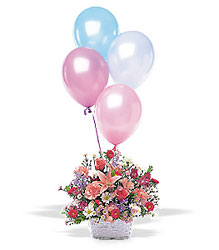 Birthday Balloon Basket from Lewis Florist in Grayslake, IL